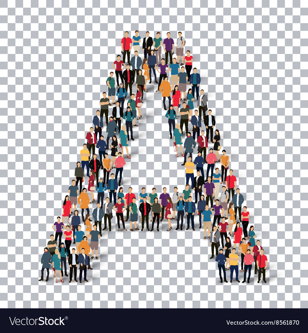 People letter alphabet 3d vector