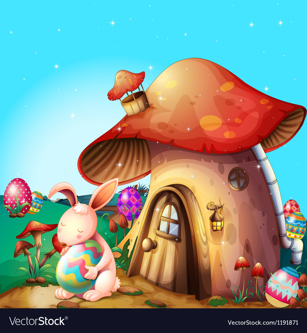 Easter eggs hidden near a mushroomdesigned house vector