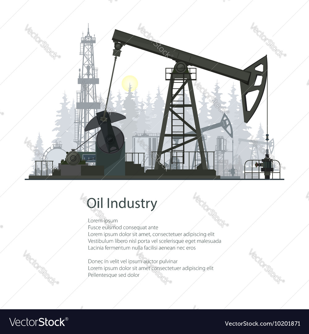 Oil industry poster brochure design vector