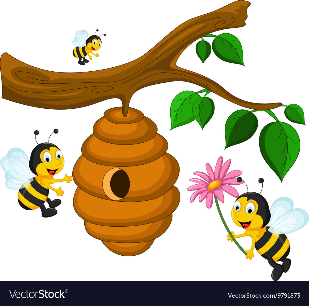 Bees cartoon holding flower and a beehive vector