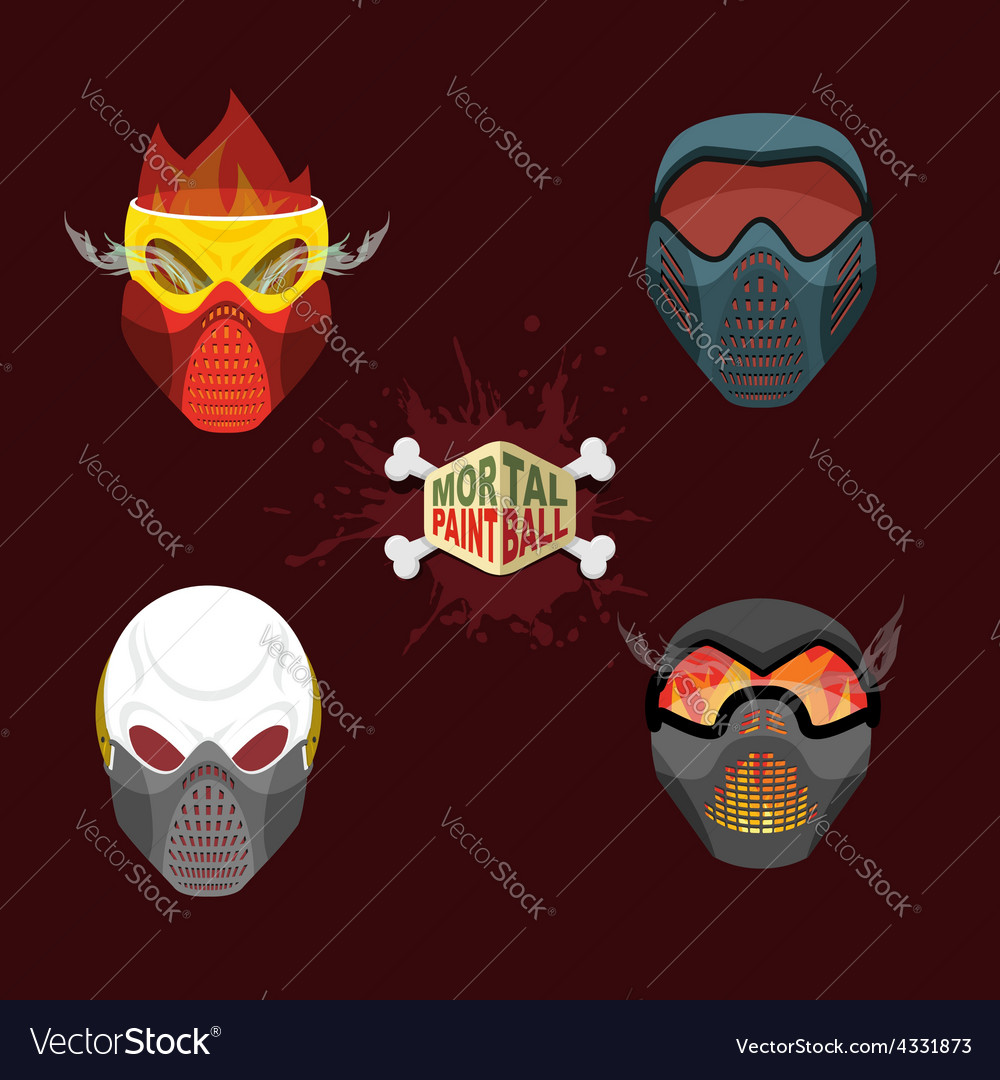 Set paintball evil mask skull mortal paintball vector