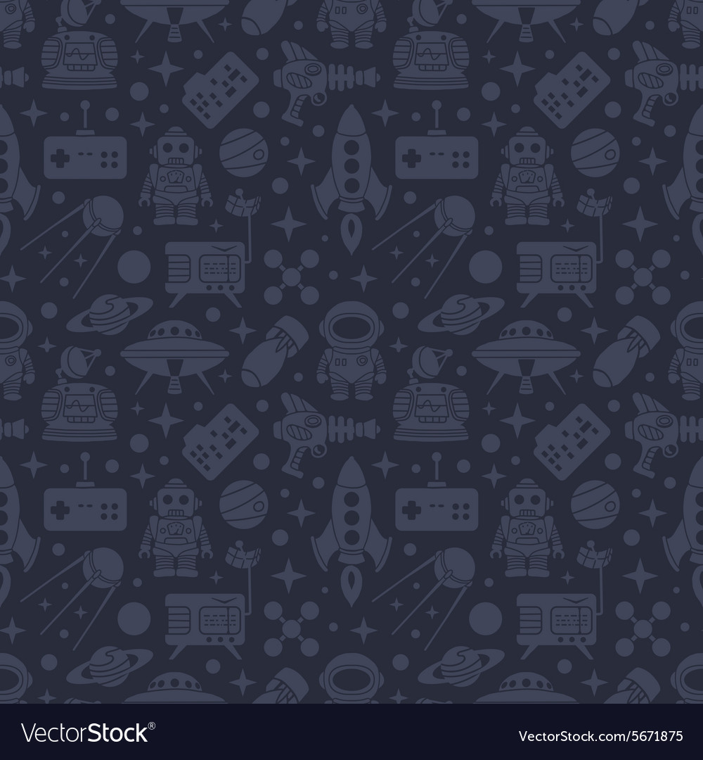 Scifi retro pattern vector