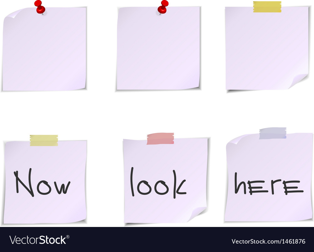 White post it notes isolated on white background vector