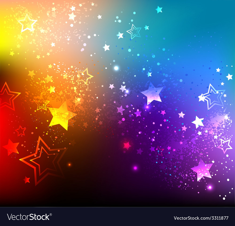 Rainbow background with stars vector