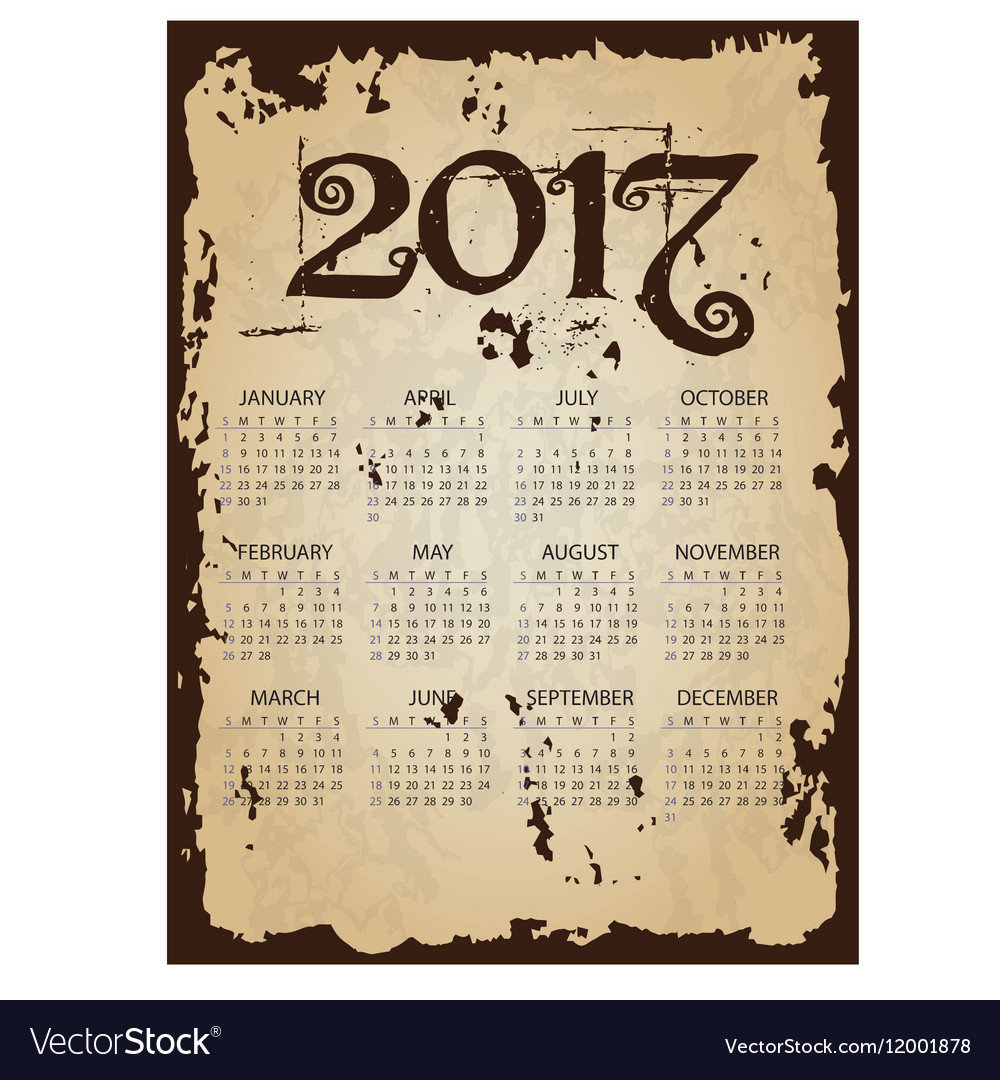 2017 simple business wall calendar with torn old vector