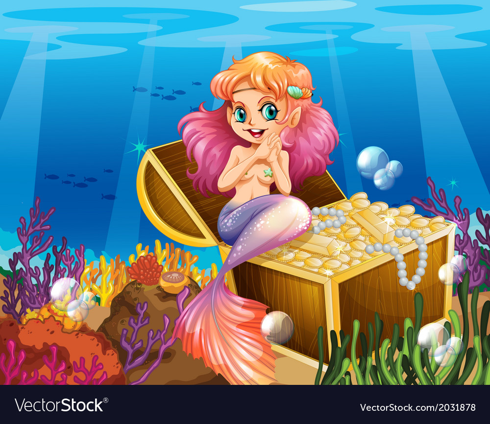 A mermaid under the sea beside the treasures vector