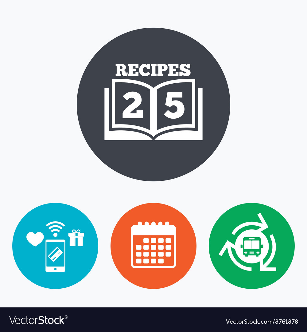 Cookbook sign icon 25 recipes book symbol vector