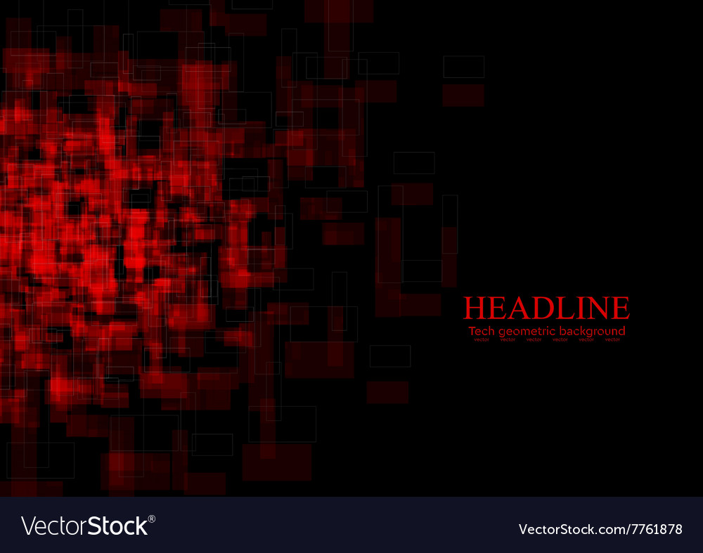 Dark red tech grunge squares background vector