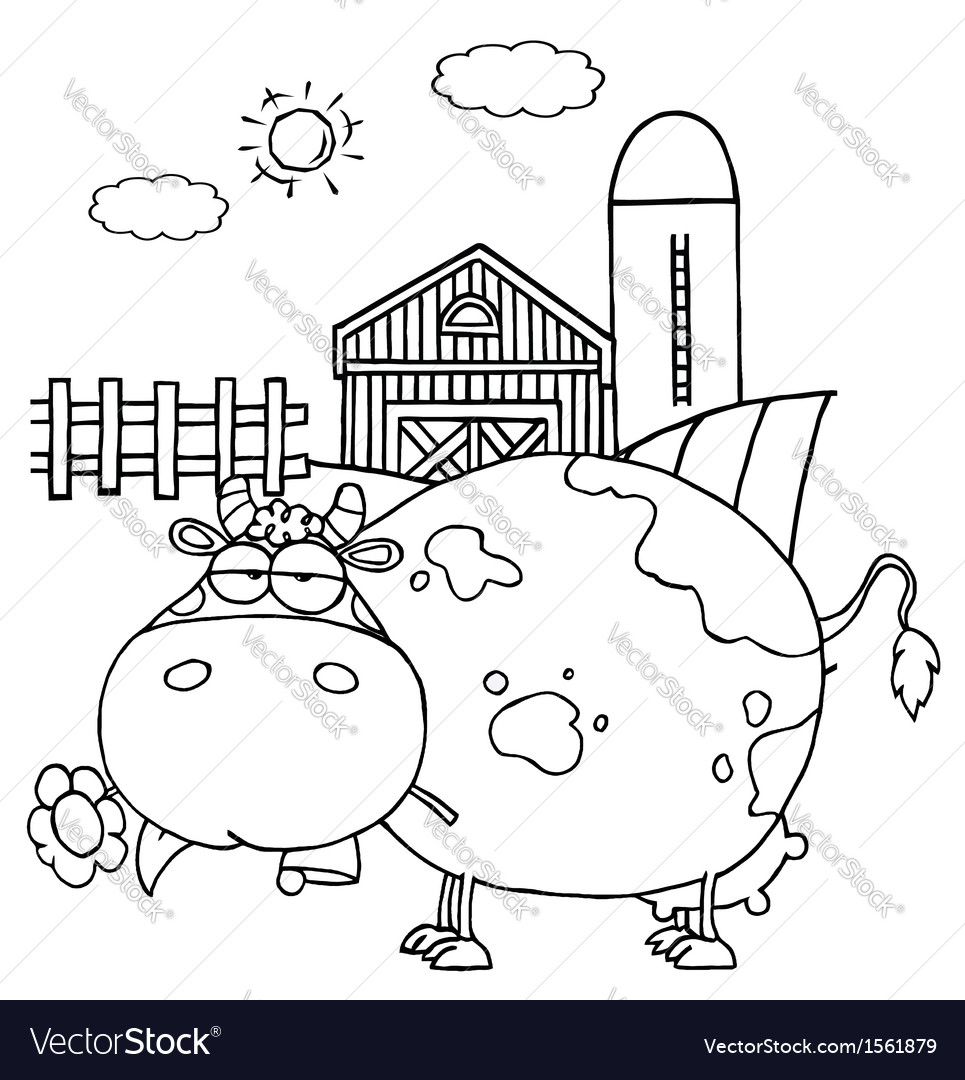 Cartoon cow on farm vector