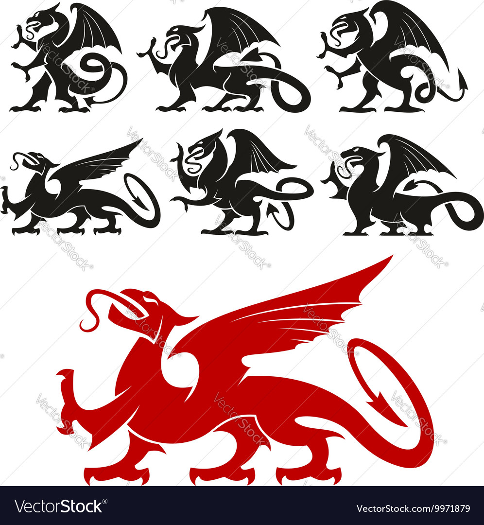 Heraldic griffin and mythical dragon silhouettes vector