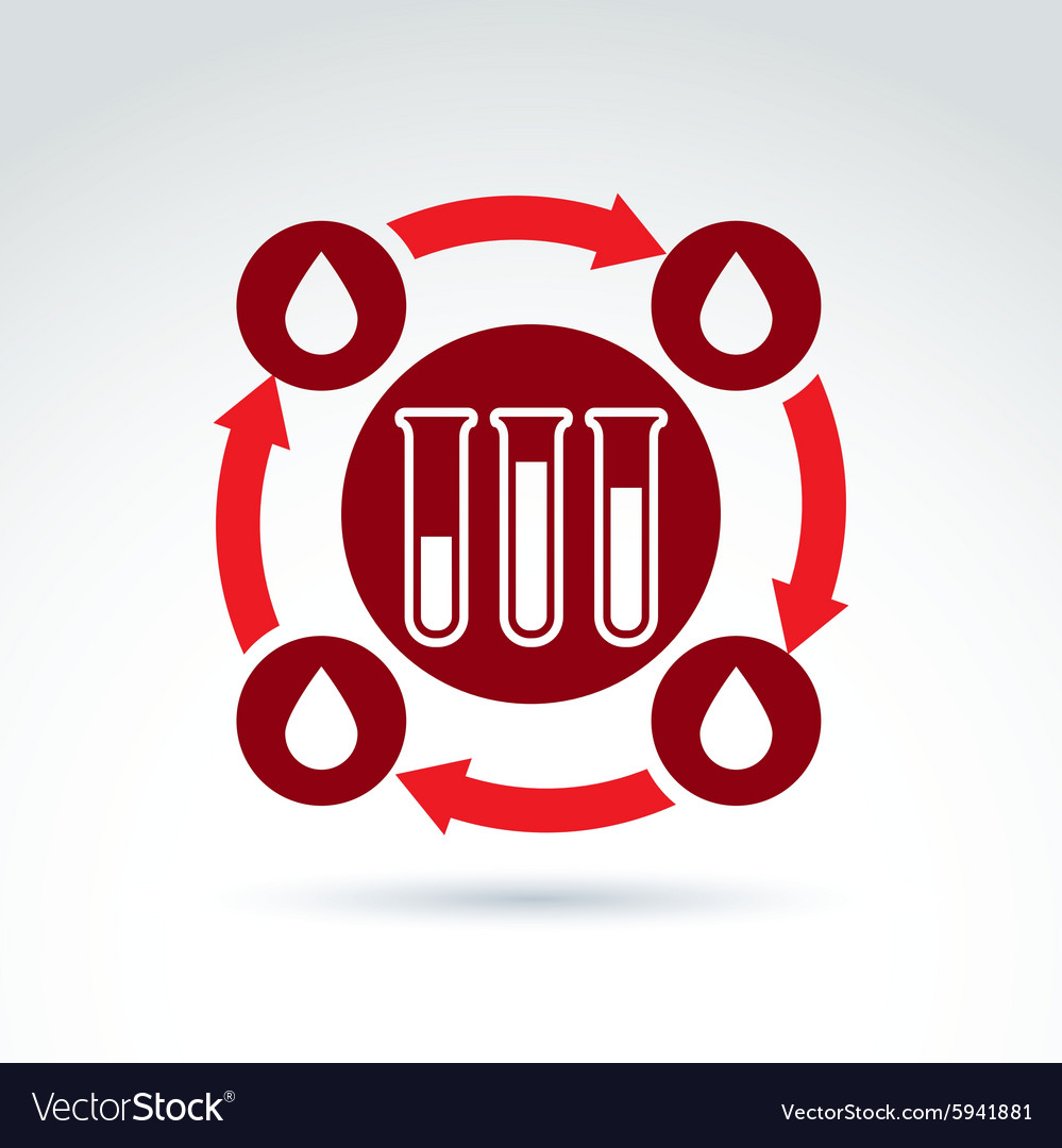 Donor blood and circulatory system icon test tube vector