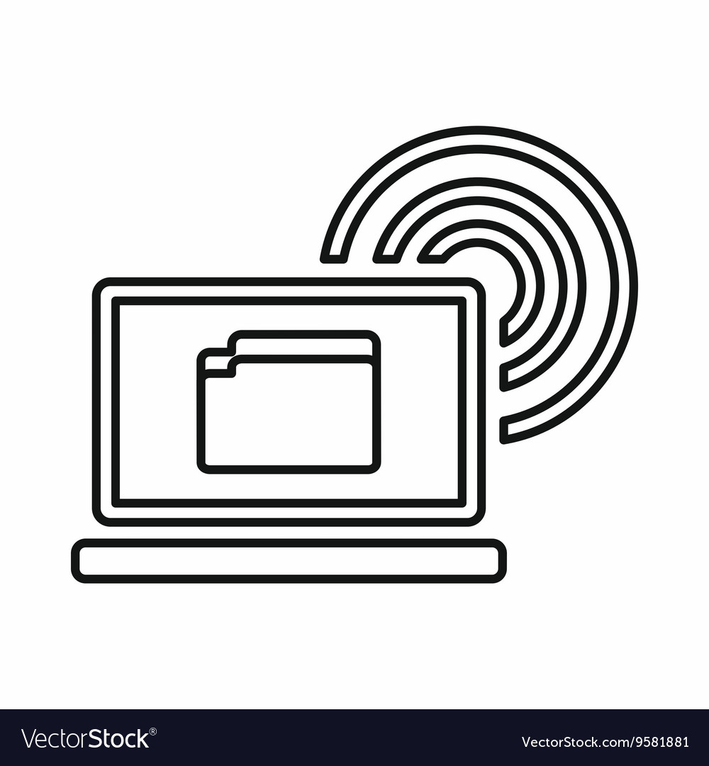 Laptop and and wireless icon outline style vector