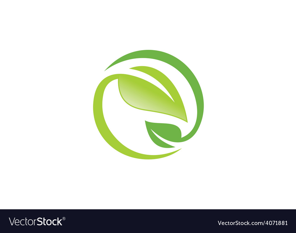Leaf ecology circle symbol logo vector