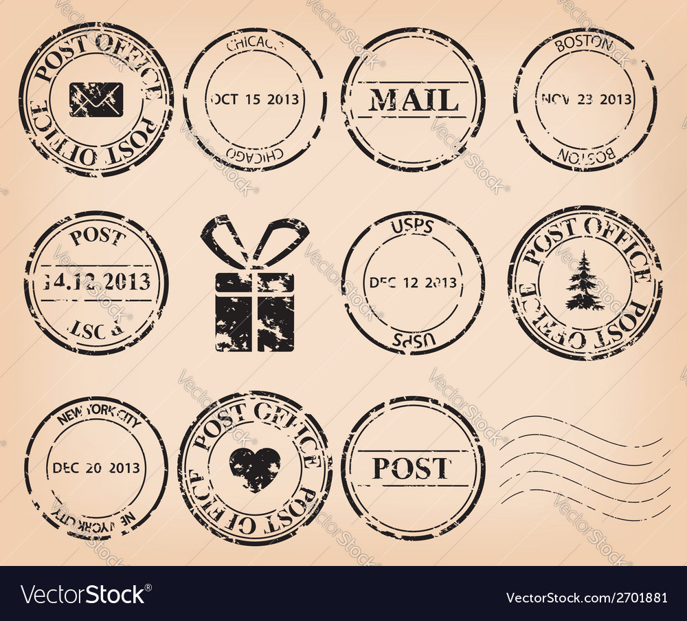 Set  black grungy post stamps vector