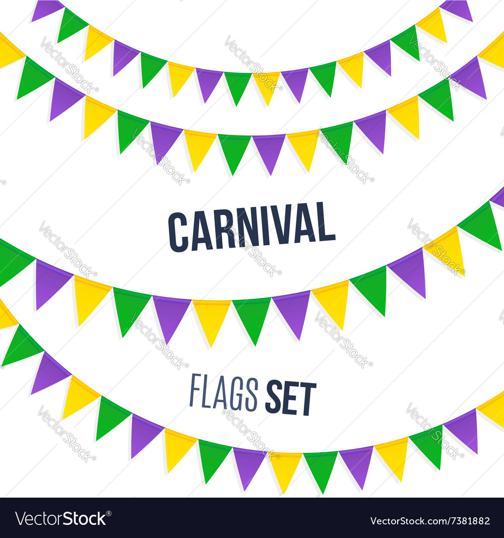Carnival flags set isolated on white background vector