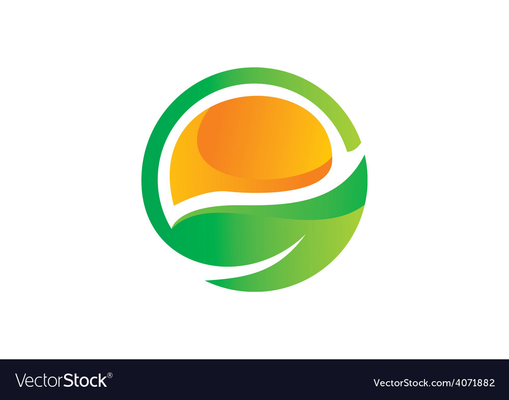 Leaf ecology symbol abstract logo vector