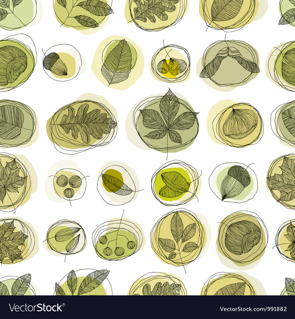 Leaves and seeds seamless pattern vector