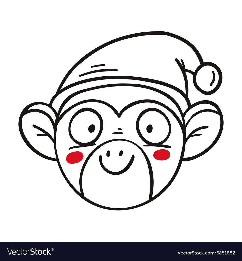 Monkey in santas hat chinese new year 2016 outline vector