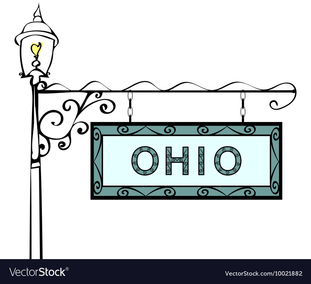 Ohio retro pointer lamppost vector