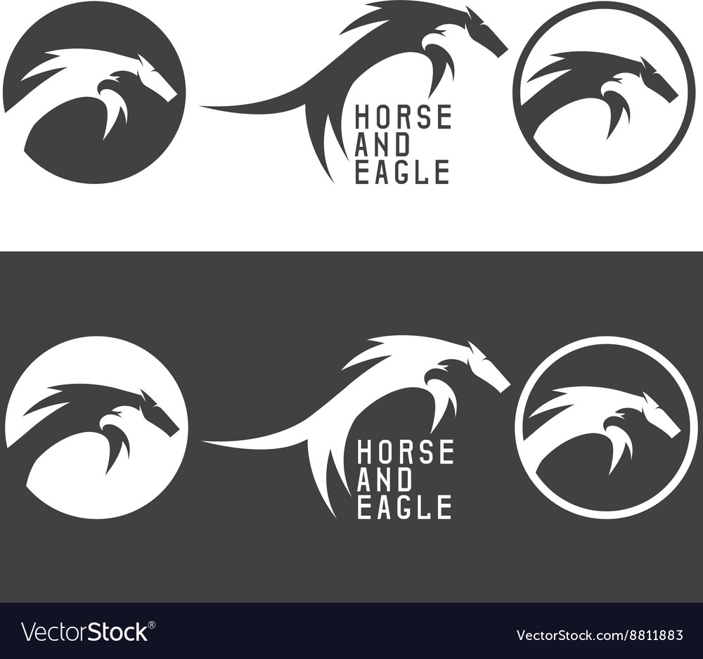 Negative space concept with eagle and horse vector