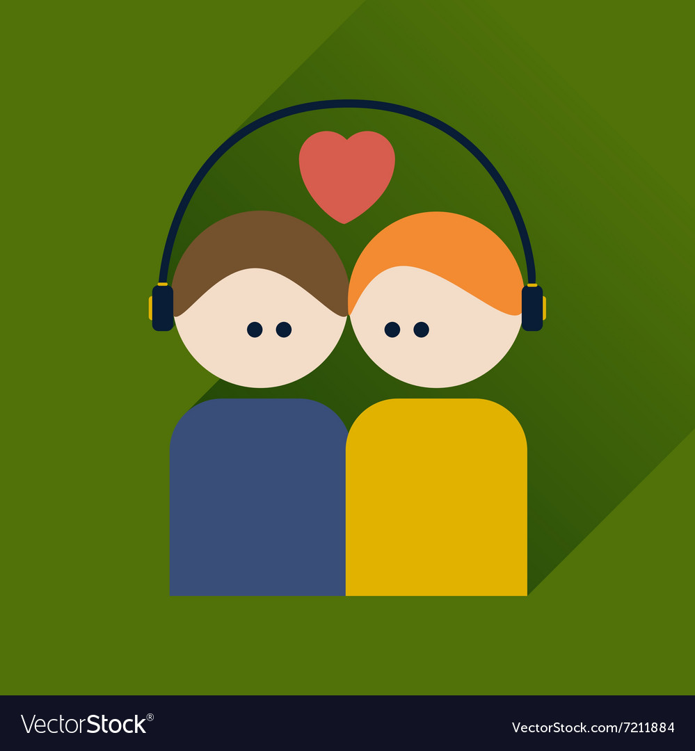 Flat icon with long shadow boy and girl listening vector