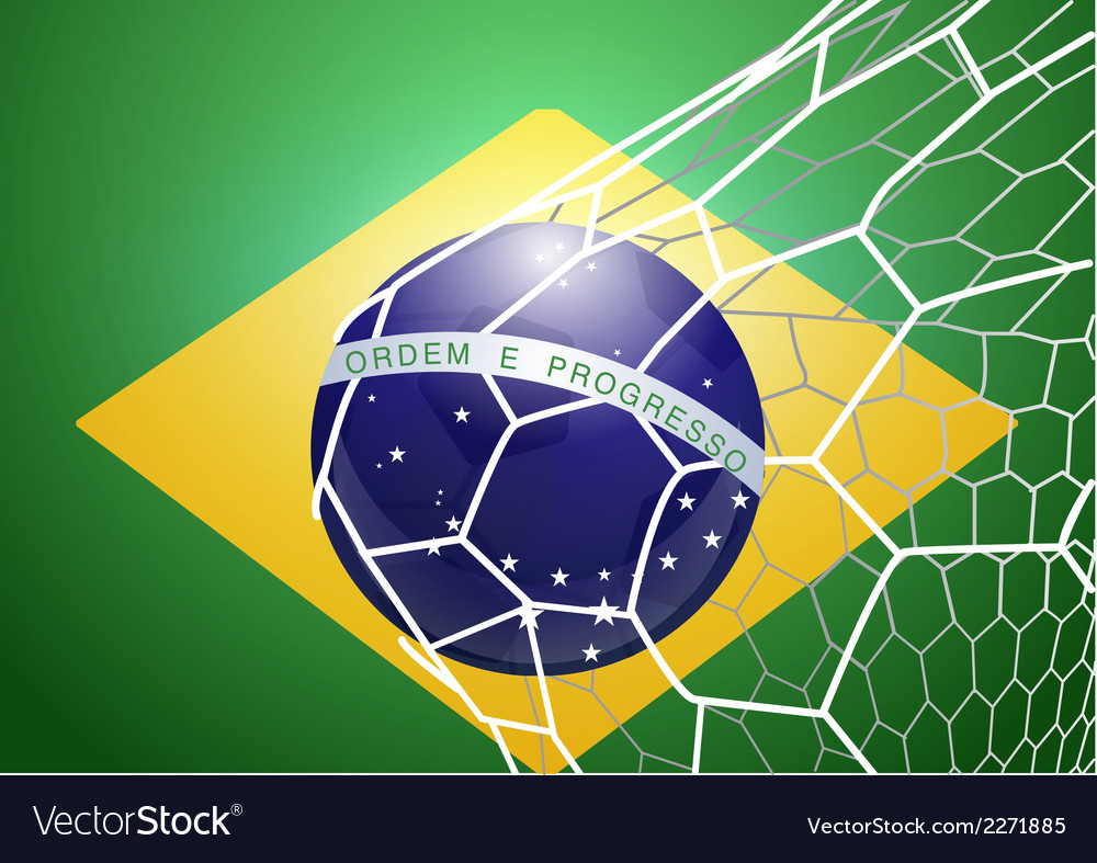 Soccer ball in net with brazil flag vector