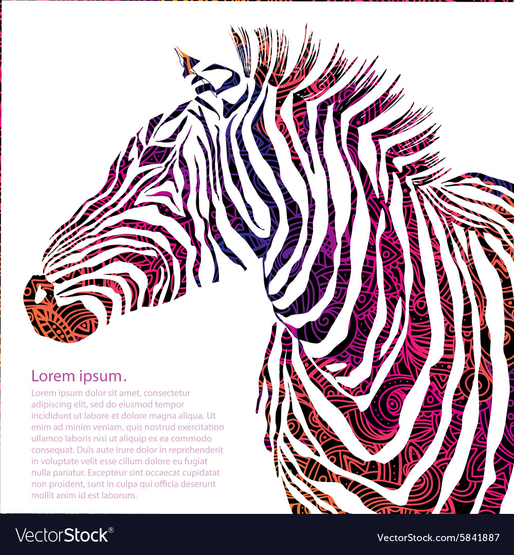 Animal ornamental silhouette zebra vector