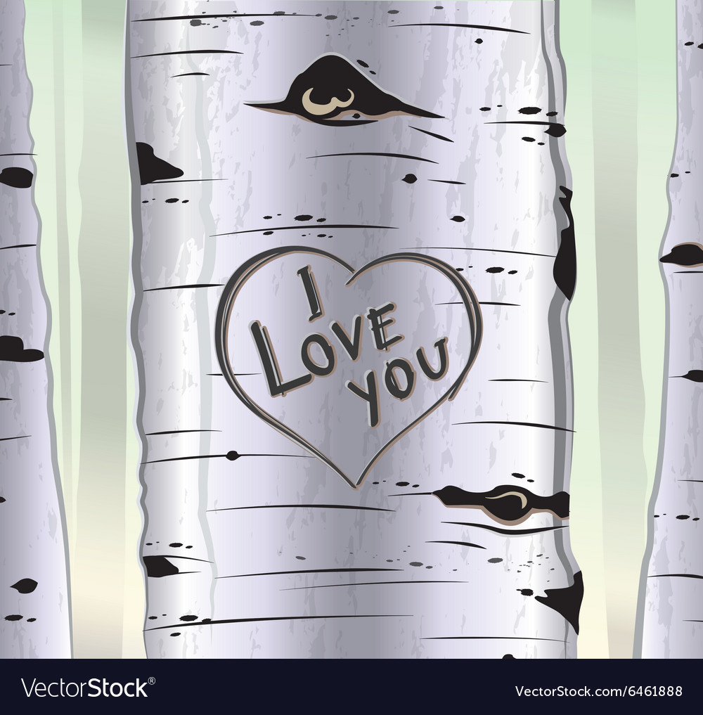 Birch tree card with heart and carved text i love vector