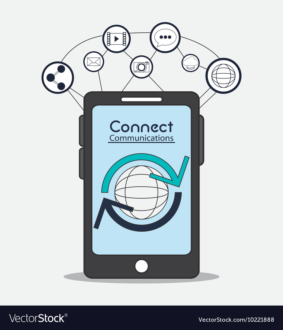 Connect communications social network icon vector
