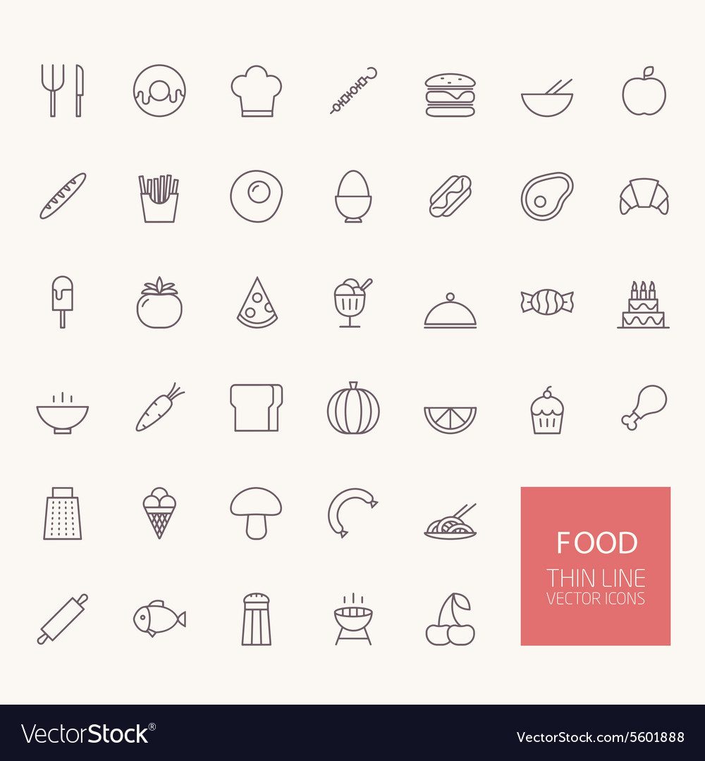 Food outline icons for web and mobile apps vector