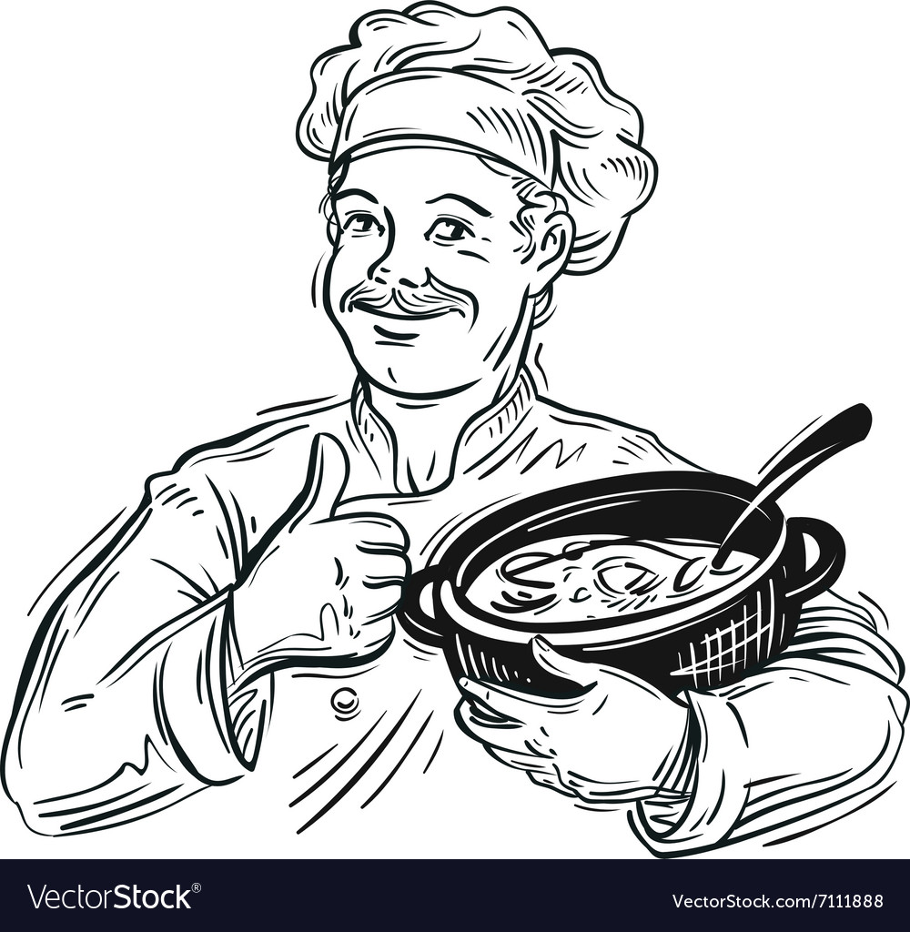 Handdrawn chef with a pot in his hand vector