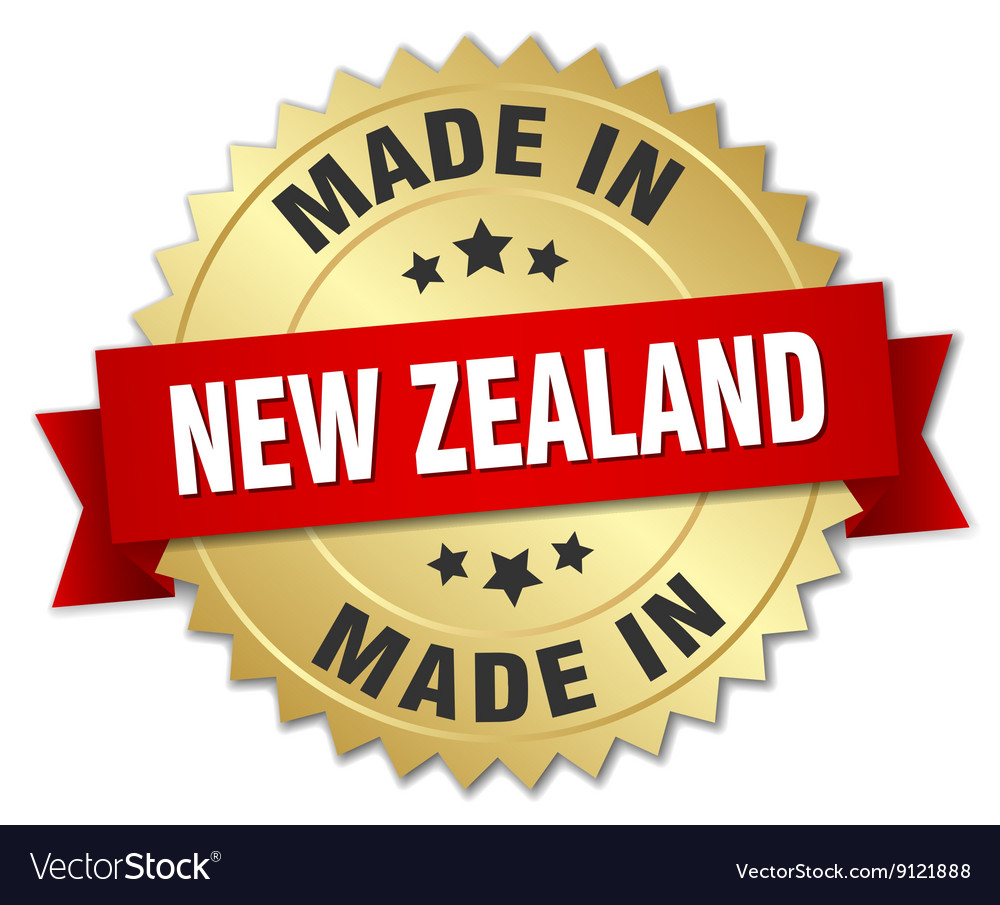 Made in new zealand gold badge with red ribbon vector