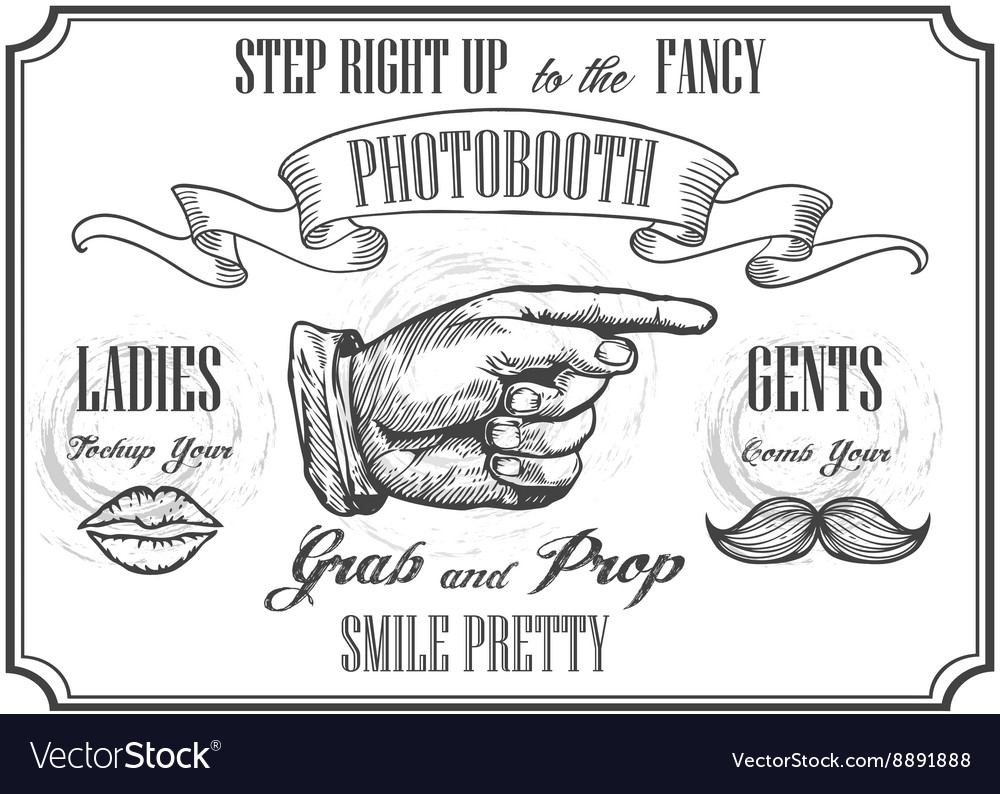 Photobooth pointer sign photo booth props vector