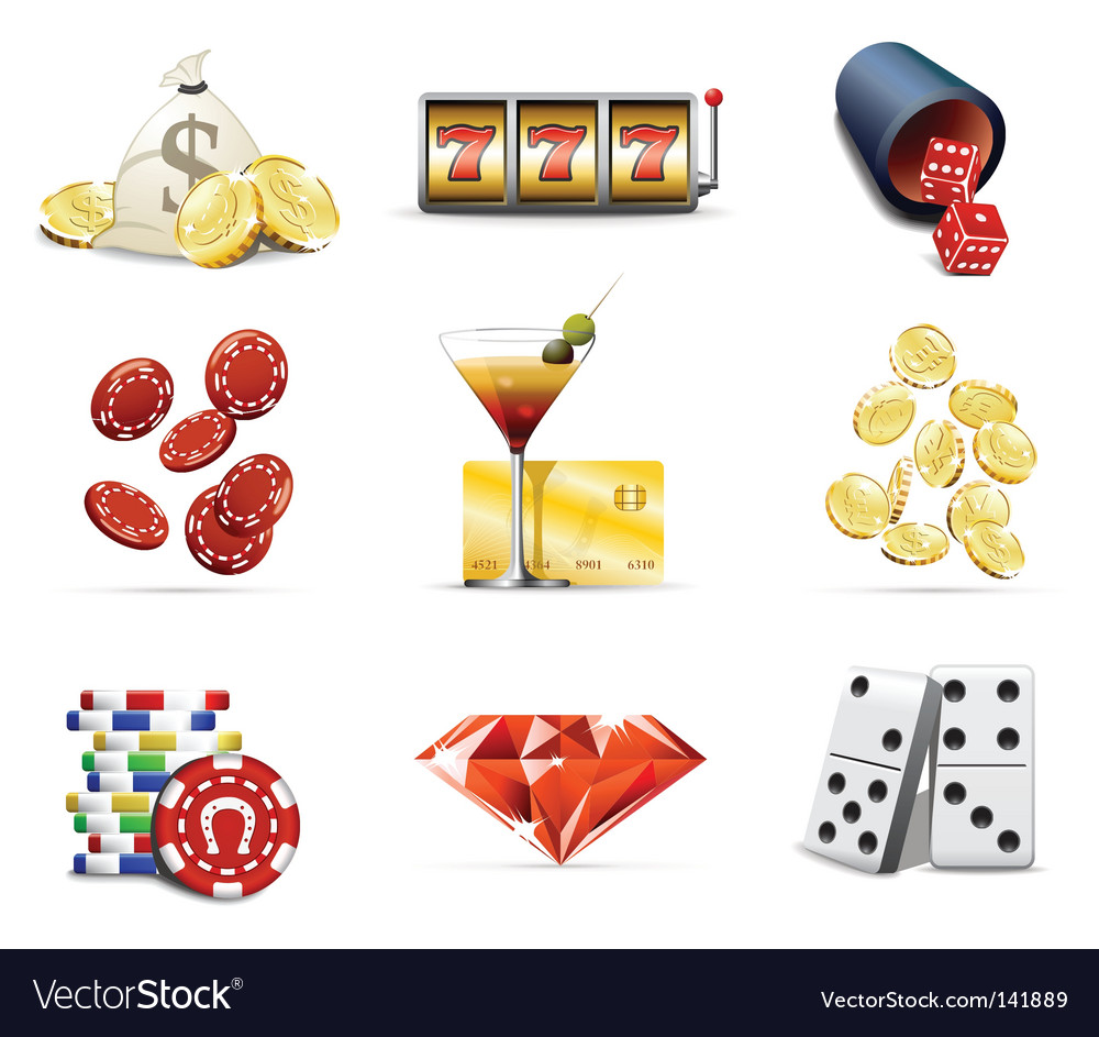 Gambling and casino icons vector