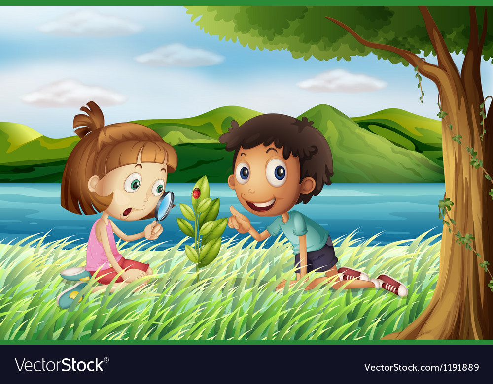Kids near the river with a magnifying glass vector