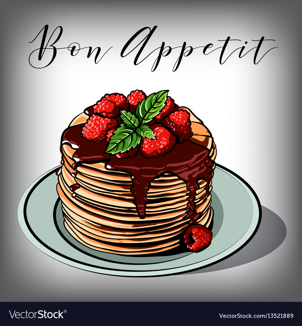 Pancake breakfast cafes berries vector