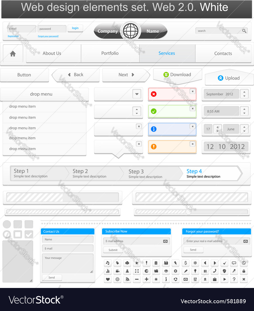 Web design elements set white vector