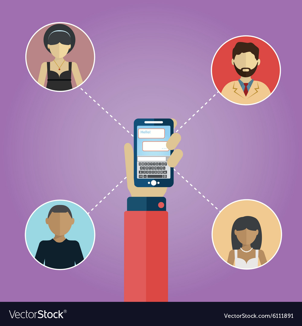 Social media network connection concept people in vector