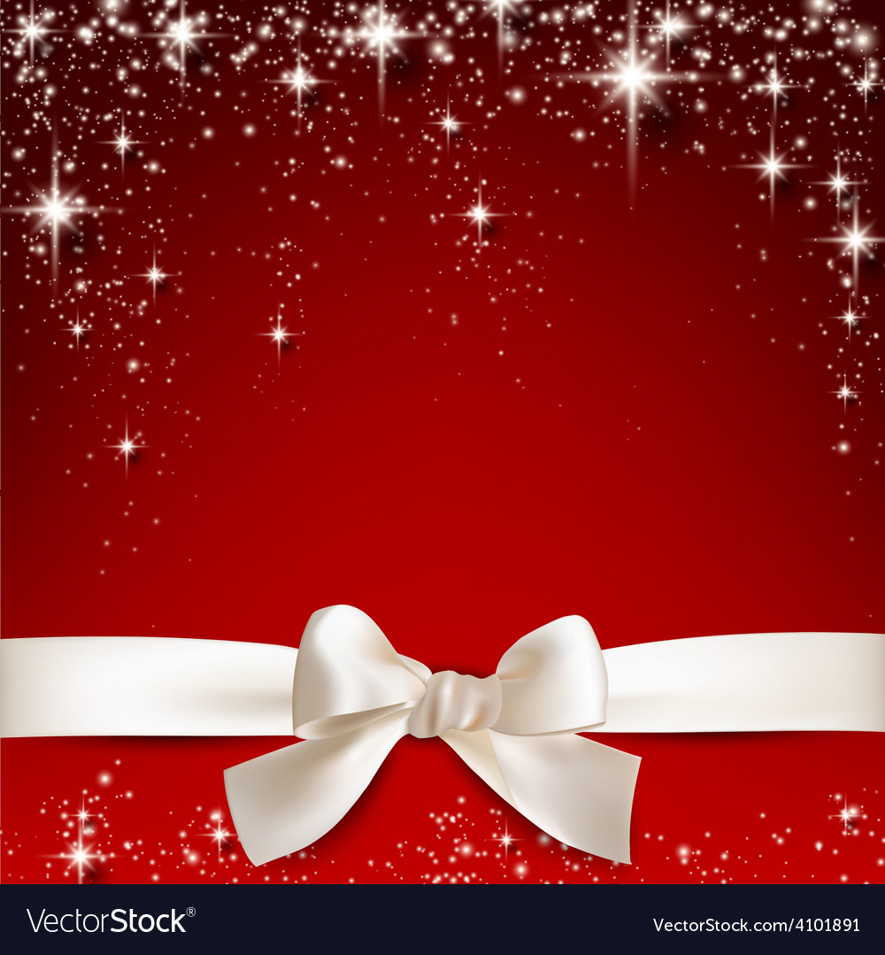 White gift bow on red vector