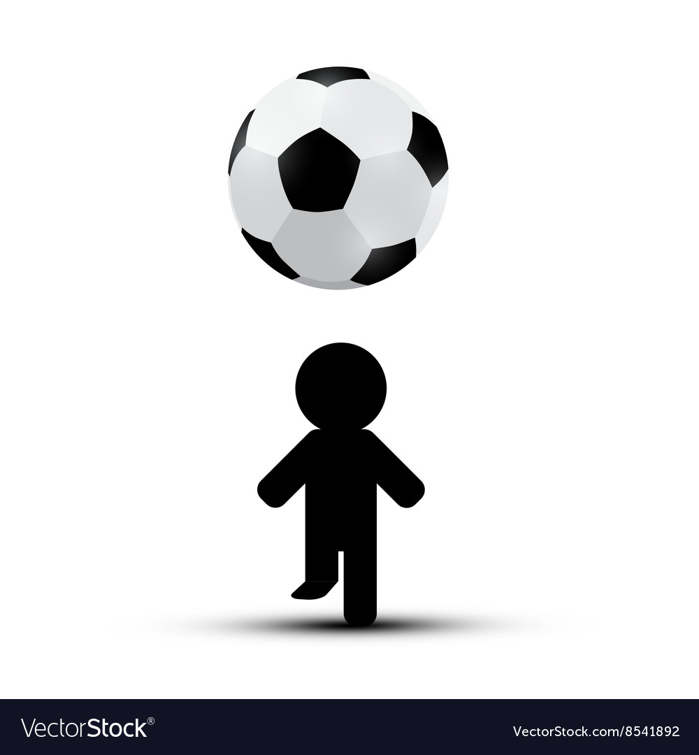 Soccer  football ball with player man silhouette vector