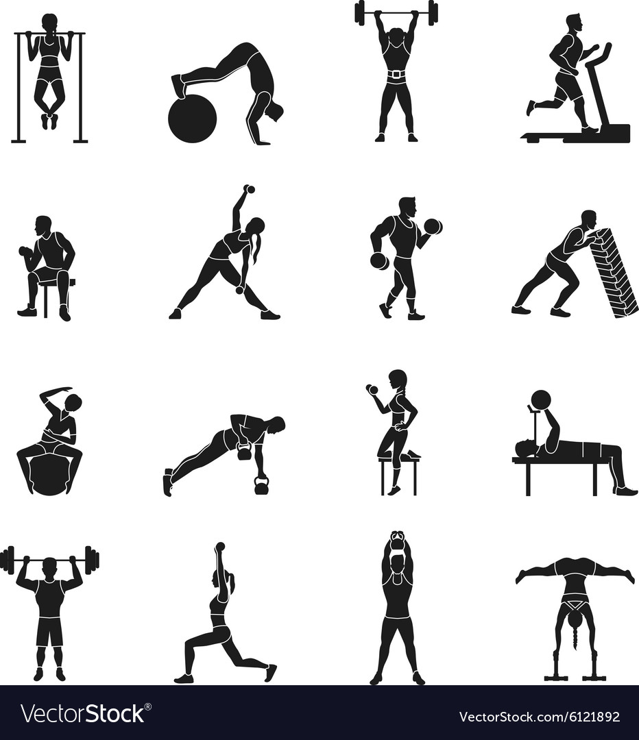Workout black and white set vector