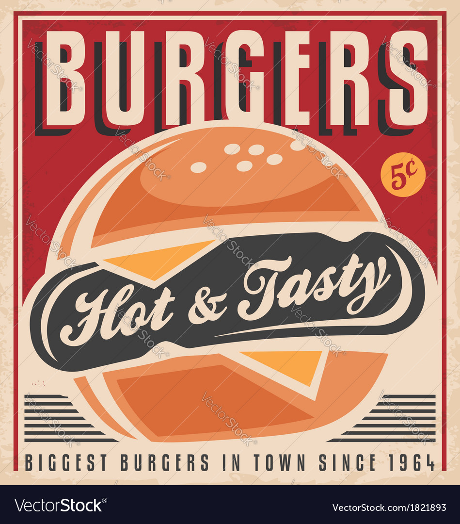 Retro burger poster design vector