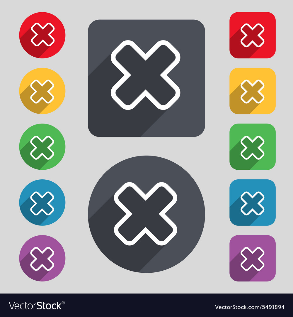 Cancel icon sign a set of 12 colored buttons and a vector