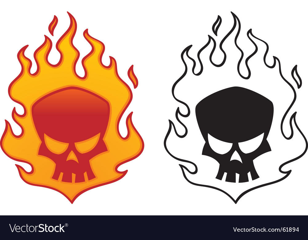 Flaming skull vector