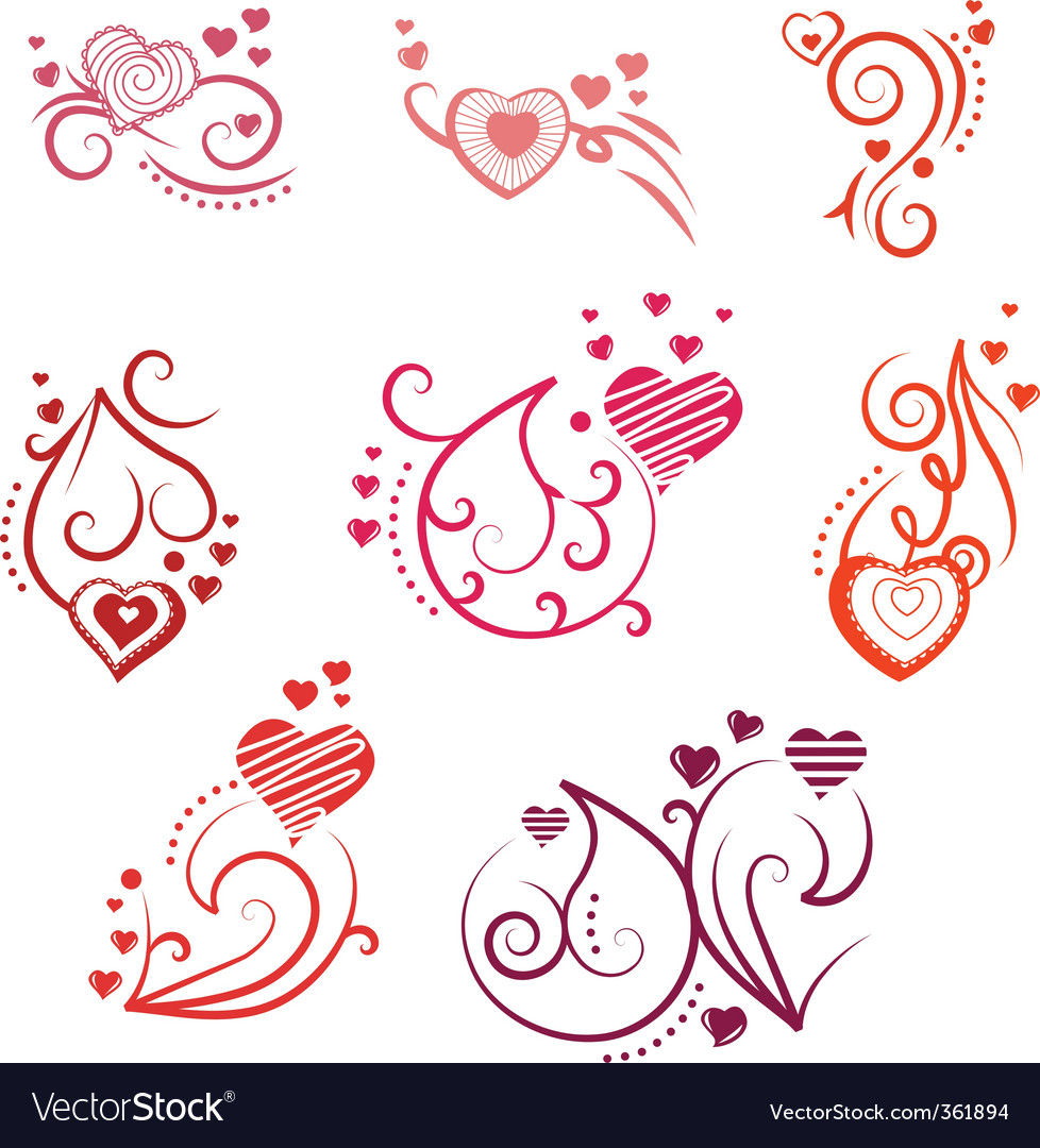 Ornate design elements with hearts vector