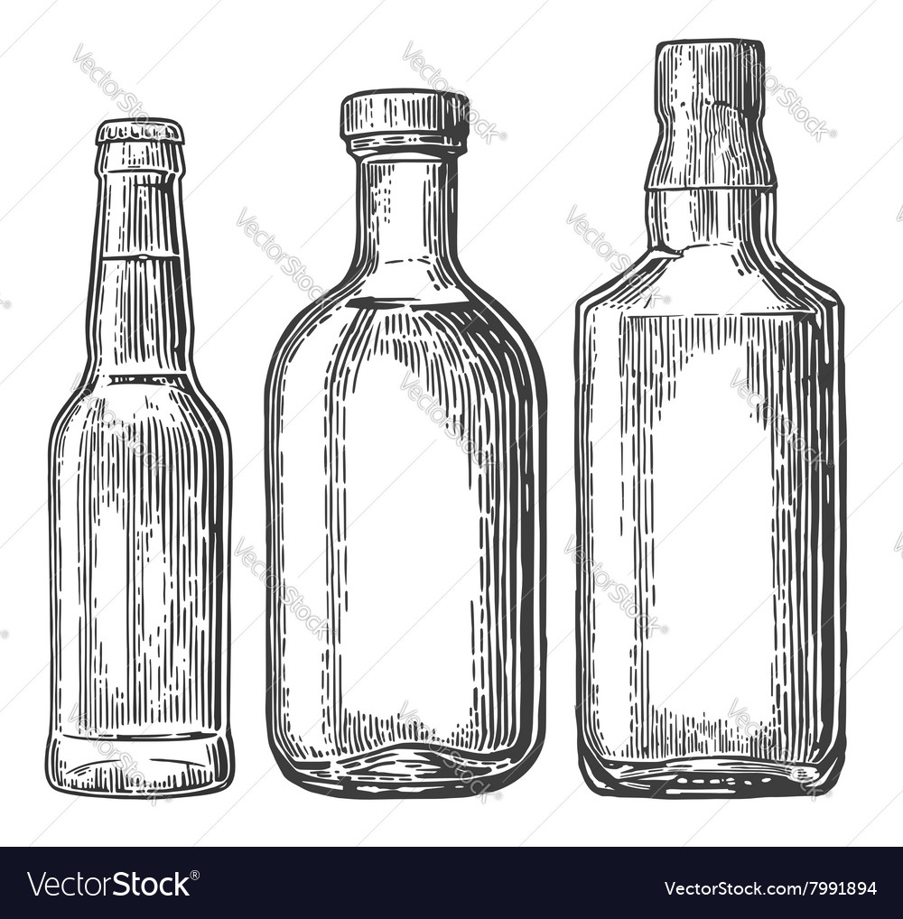 Set bottle for beer whiskey tequila vector