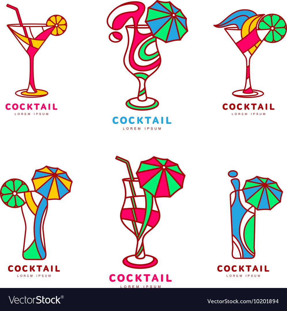 Set of colorful abstract cocktail logos vector