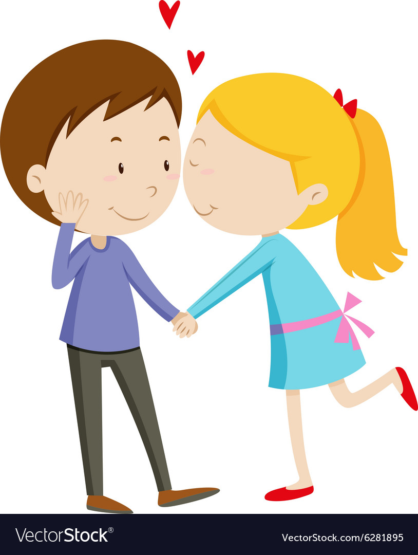 Girl kissing her boyfriend vector