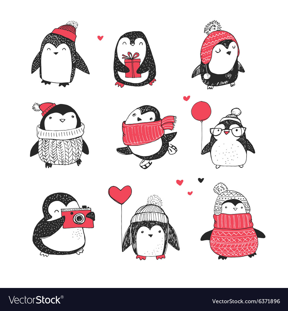 Cute hand drawn penguins set  greetings cards vector