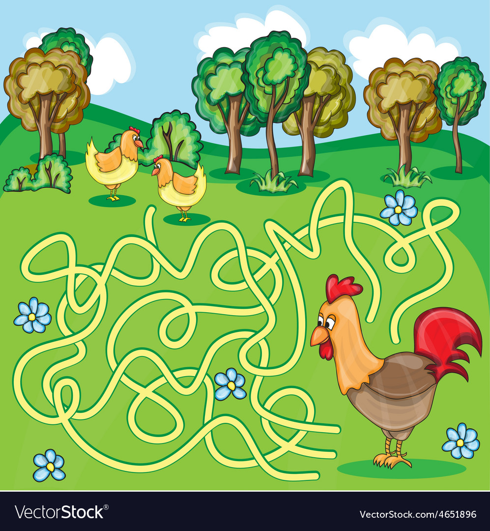 Funny maze game  cartoon chicken vector